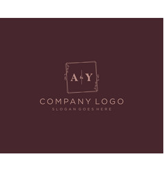 Initial ay letters decorative luxury wedding logo vector