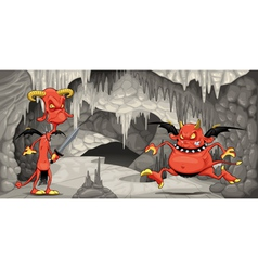 Inside the cavern with funny devils vector image