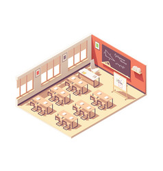 isometric school mathematics classroom vector image