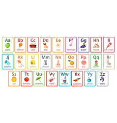 Kids abc cards letter study set english alphabet vector