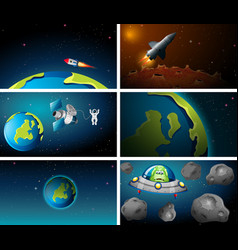 large set earth and rocket scene vector image