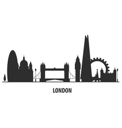 london city skyline - cityscape silhouette with vector image