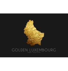 Luxembourg map Golden Luxembourg logo Creative vector