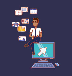 man sitting on computer with phone social media vector image