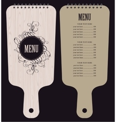 menu in form of wooden cutting board vector image