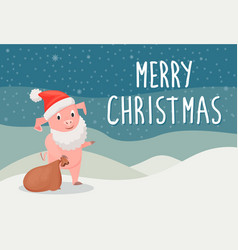 merry christmas holiday postcard with piggy vector image