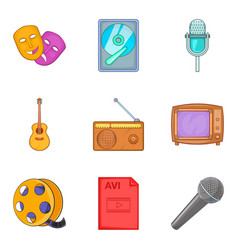 musical arrangement icons set cartoon style vector image