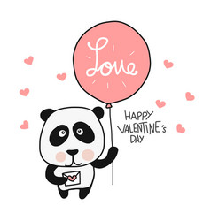 panda with love balloon happy valentines day vector image
