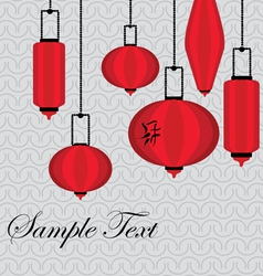 Pattern with red chinese lantern vector