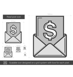 Read post line icon vector image