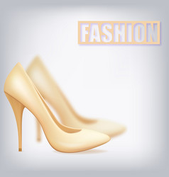 realistic beige shoes on the heel of a boat vector image