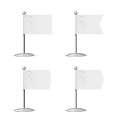 Realistic template blank white flags pocket table vector