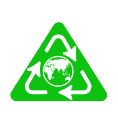 Recycle icon with earth globe vector