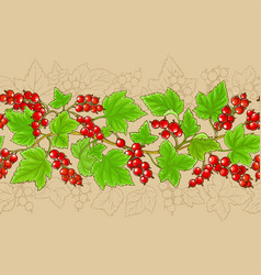 red currant branches pattern on color background vector image