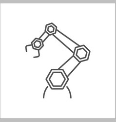 robotic arm line icon on white background vector image
