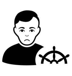 Sad captain black icon vector