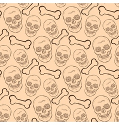 seamless pattern with brown skulls and bones vector image