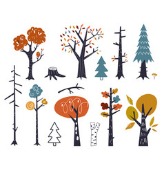 set children drawings - cute forest and vector image