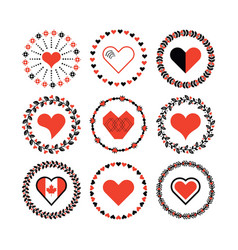 set circle border decorative hearts symbol vector image