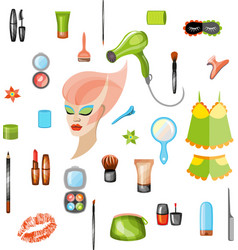 Set cosmetics and food for girl vector