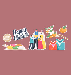 Set stickers chuseok tteok korean tradition theme vector