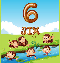 Six monkey next to river vector