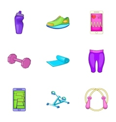 Slimming icons set cartoon style vector