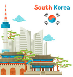 South korea historical and modern architecture vector