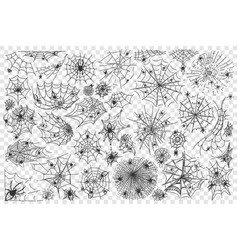 spider web doodle set collection vector image
