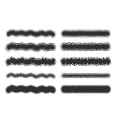 Spray strokes set black airbrushes isolated vector