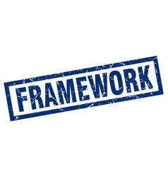 Square grunge blue framework stamp vector