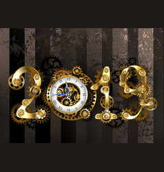 steampunk 2019 with gears vector image