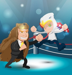 Two Mascot Fight Boxer Eagle Bear Fight Text vector image