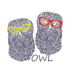 Two wise owls vector