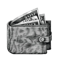 wallet with full money hand draw vintage vector image
