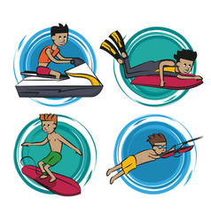 Water sports cartoons vector