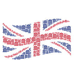 waving united kingdom flag collage of bank vector image