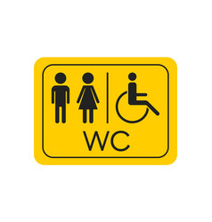 wc toilet icon men and women sign for restroom vector image