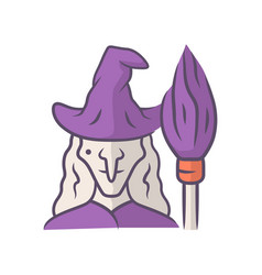 witch purple color icon wicked sorceress hag vector image
