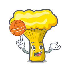 with basketball chanterelle mushroom character vector image