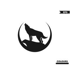 Wolf roaring logo vector