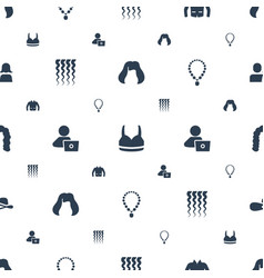 Woman icons pattern seamless white background vector