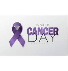 world cancer day concept lavender ribbon vector image