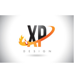 xp x p letter logo with fire flames design and vector image