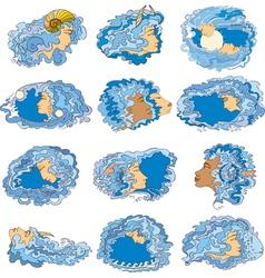 Zodiac Set Girl Face Blue vector image