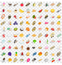 100 dishes icons set isometric 3d style vector image vector image