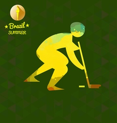 Brazil summer sport card with an yellow abstract h vector image