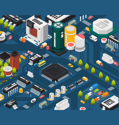 colored semiconductor electronic components vector image