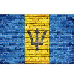 Flag of Barbados on a brick wall vector image vector image