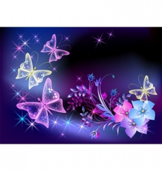 glowing transparent flowers and butterfly vector image vector image